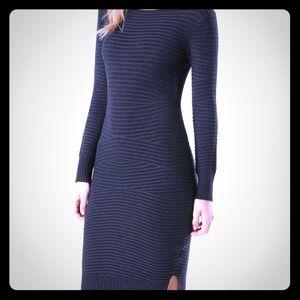 Bebe Women's Gray Cross Rib Sweater Dress